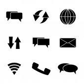 Zestaw ikon komunikacji wektor czarny — Wektor stockowy