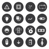 Vector white electricity icons set — Stock Vector