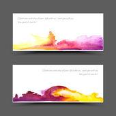 Banner watercolor violet yellow — Stock Vector