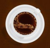 Filiżankę kawy widok z góry — Wektor stockowy