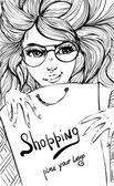 Vector Fashion shopping girl — Stock Vector