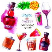 Alcohol en snoep. Aquarel — Stockfoto