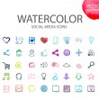 Social media  symbols. Watercolor icon — Stock Vector #80620316