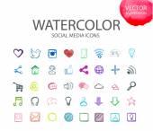 Social media  symbols. Watercolor icon — Stock Vector