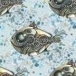 The image of fish in the style of steampunk. Watercolor stains in the background. Vector seamless pattern. — Stock Vector #74476883