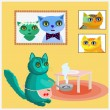 Cheerful cat in cartoon style. Happy family of cat prepares fish for dinner. — Stock Vector #74477473