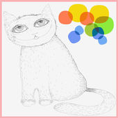 Cute cat stylized under the pencil drawing. Dreamy cat with big eyes. Graphic sketch. Colored spots as a background. Card . Poster. — Stock Vector