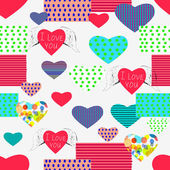 Abstract background of geometric shapes and hearts dedicated to St. Valentine's Day. Seamless . — Stock Vector