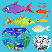 Aantal vissen en aquaria op een blauwe achtergrond. — Stockvector