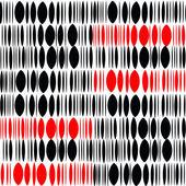 Zwarte en rode ovalen op een witte achtergrond. Naadloze. — Stockvector