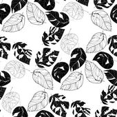Black and white background of leaves. — Stock Vector