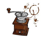 Coffee grinder. Stains of coffee. Splashes of coffee. — Stockvector