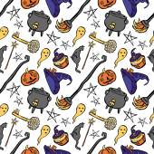 Pattern of witch: witch hat, witch cauldron, broom, black cat, magic wand, old key, Halloween pumpkin, ghost and muffin for Halloween. — Stock Vector