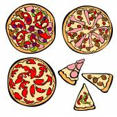 Pizza. Pizza slice. Isolated objects. — Stock Vector