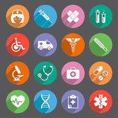 Flat colored Healthcare themed Vector icons — Stock Vector