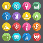 Flat colored Energy Icon Set — Stock Vector
