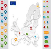 European Union Grey Map with markers — Stock Vector