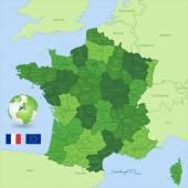 France Vector Green Administrative Map — Vector de stock