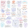 High Quality grunge Passport Stamp collection — Stock Vector #76370523