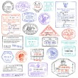 High Quality grunge Passport Stamp collection — Stock Vector #76385215