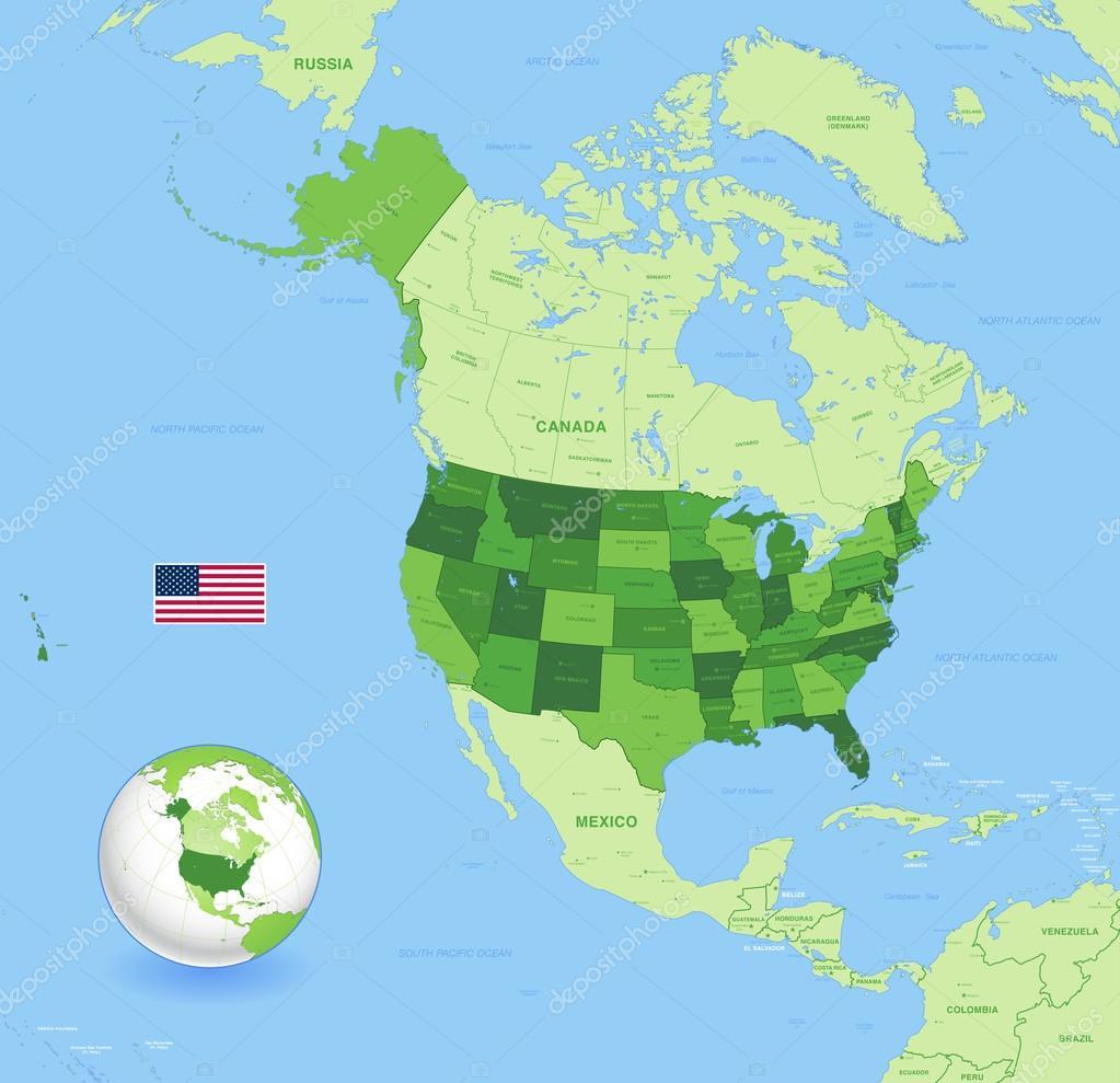 高细节美国绿色地图 — 图库矢量图像08 pingebat