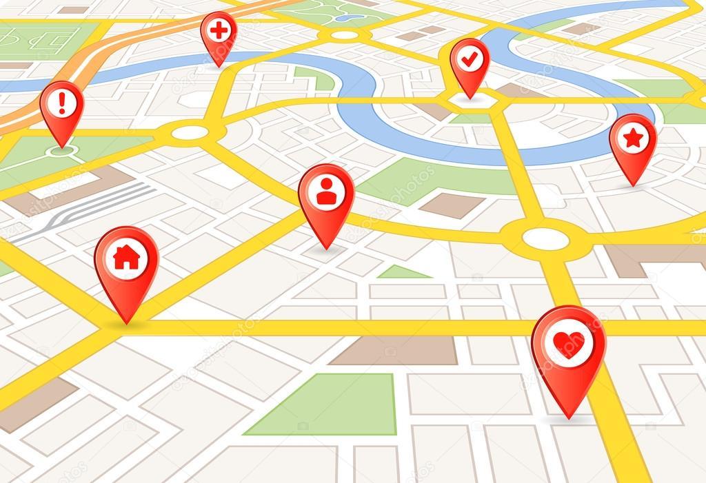 矢量角度看城市地图与红色标记和圆形的图标