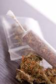Close up of dried marijuana leaves and joint — Stockfoto