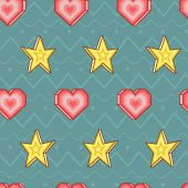 Seamless vector pattern with hearts and stars — Stock Vector