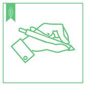 手手握一支笔 — 图库矢量图片