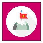 Flag on mountain top — Stock Vector