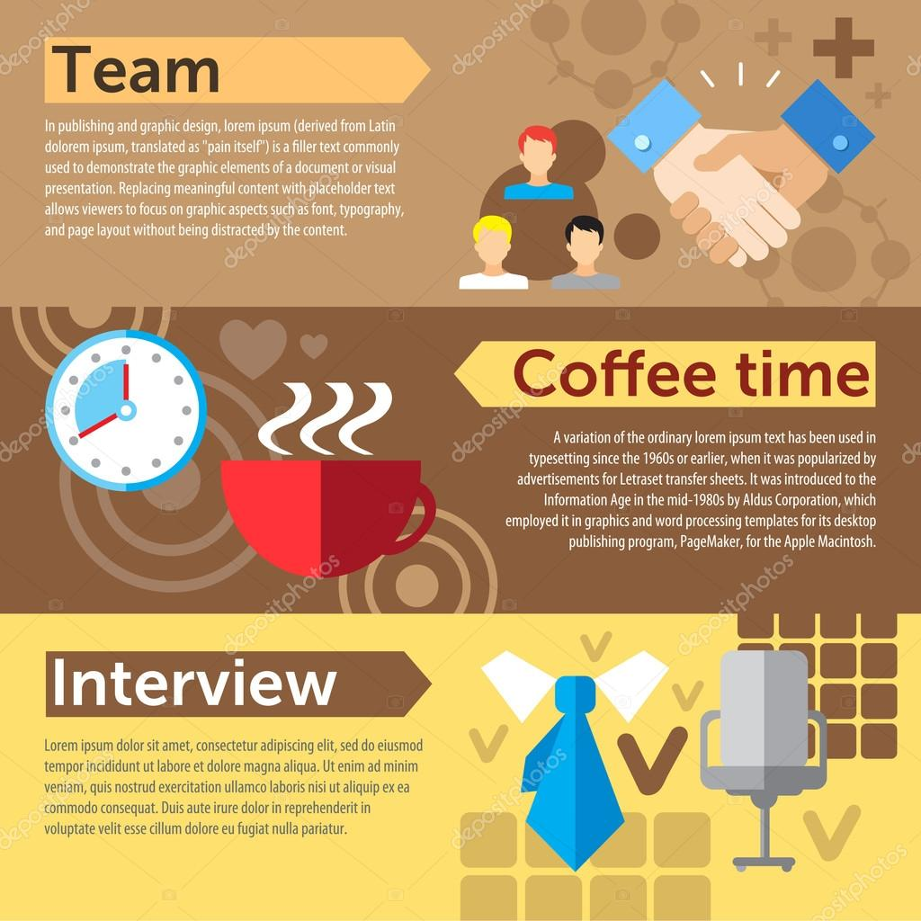 teamwork coffee time interview stock vector © redinevector set of flat design concepts of teamwork coffee break and job interview on colored background vector by redinevector