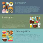 Confection, beverages, standing dishes — Stock Vector