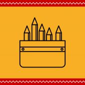 Пенал с карандашами — Cтоковый вектор