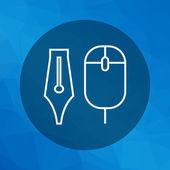 Computer mouse e inchiostro penna pennino — Vettoriale Stock