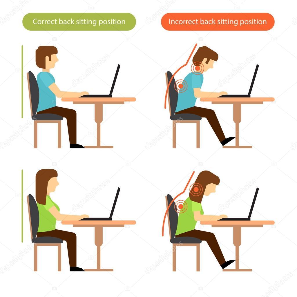 richtige und falsche zur ck sitzposition am arbeitsplatz stockvektor shendart 100376452. Black Bedroom Furniture Sets. Home Design Ideas