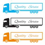 Silhouette three trucks to deliver the goods — Stock Vector
