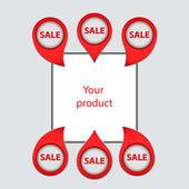 Zbiór strzałki, wskaźniki, aby sprzedawać swoje produkty — Wektor stockowy