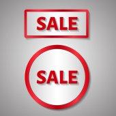 Czerwony prostokąt i koło naklejki, tekst sprzedaż — Wektor stockowy