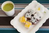 Traditional Thai Dessert With Hot Milk Green Tea  On Plate — Stock Photo