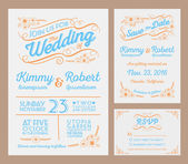 Letterpress Wedding Invitation Collection. — Stock Vector