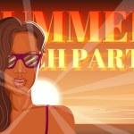 Disco flyer summer beach party. — Stock Vector #77463056