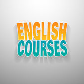 Painted multicolor text english courses on white wall background. — Stock Vector