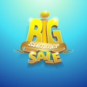 3d vector words big summer sale — Stock Vector