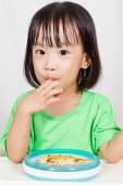 Little Asain Chinese Eating Pizza — Stock Photo