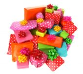 Colored gift boxes with decorative bows — Φωτογραφία Αρχείου