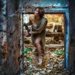 Girl prisoner, slave medieval, in the basement  in shackles — Stock Photo #75065749