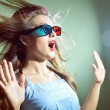 Girl in 3d glasses scared — Stock Photo #75851897