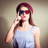 Girl in 3d glasses thoughtfully looking — Stock Photo