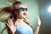 Girl in 3d glasses scared — Stock Photo