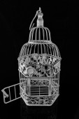 Isolated bird cage on a black background — Stock Photo